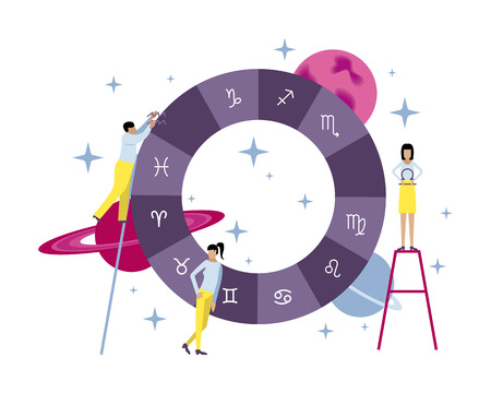 Vector illustration with small people. Creation of the natal chart and horoscope. Planets, stars, astrology.