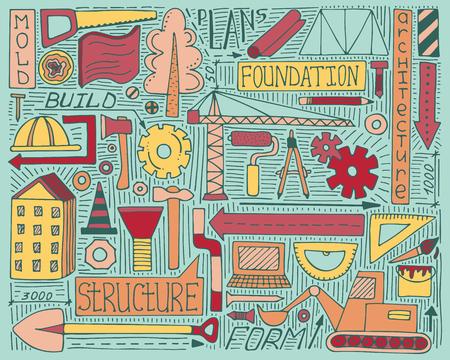 Colorful doodle set with construction, design and mechanism elements Ilustração