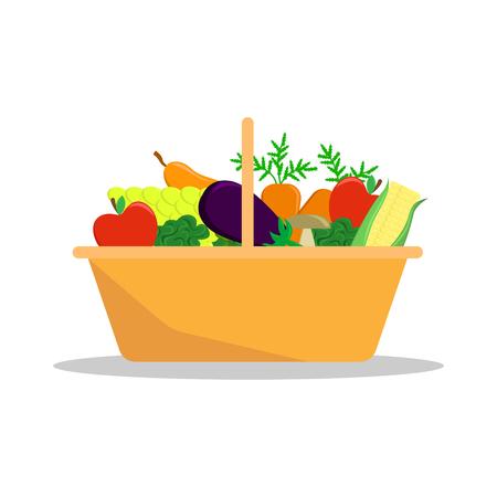 Cesta con cosecha de temporada. Granjero de frutas y verduras. Ilustración de vector