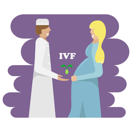 Vector illustration of the doctor and pregnant after extracorporeal fertilization