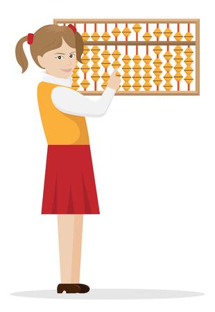 Illustration vectorielle de la jeune fille l'arithmétique mentale engagée.