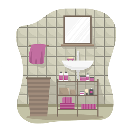 Flat colorful illustration of a bathroom interior.