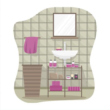 Flat colorful illustration of a bathroom interior.