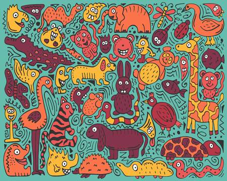 Doodle color poster with hand-drawn zoo animals. Ilustração