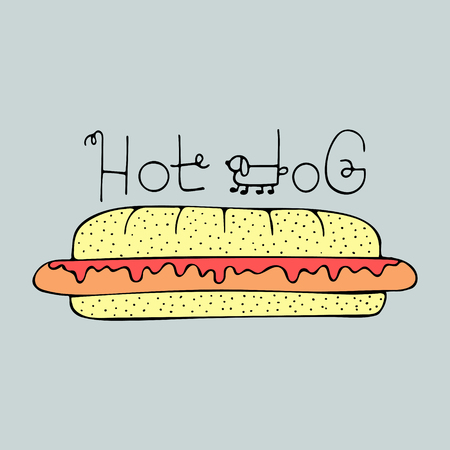 Funny hand-drawn illustration with hot dog and lettering.