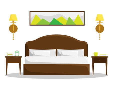 Isolated bedroom interior with double bed and bedside tables. Stock Illustratie