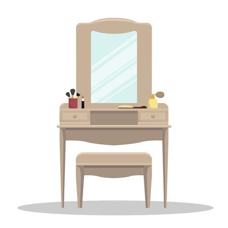 Enrejado de vector con espejo y cosméticos en el dormitorio. Ilustración aislada.