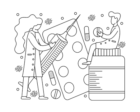 Medical concept with small doctors and medicines. Monochrome line art.