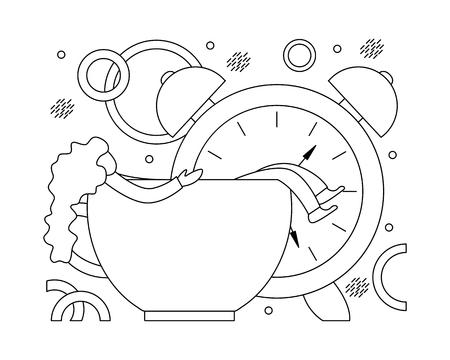 Flat vector illustration of early awakening to work. Monochrome line art.