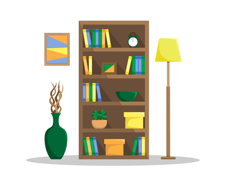 Flat illustration of a cozy bookcase with books, clock, plants and boxes. The floor lamp and the vase with driftwood. Flat style vector on the white background.