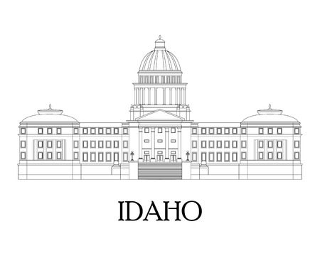 Flat illustration in lines of the Idaho State Capitol. Flat style vector.