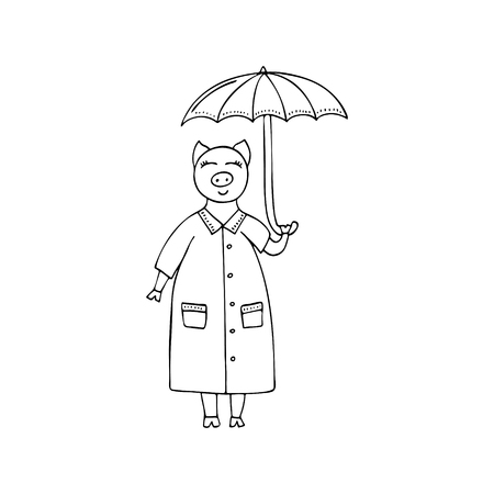 Vector monochrome hand-drawn illustration with a pig with an umbrella in the rain. 矢量图像
