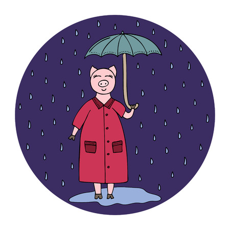Vector hand-drawn illustration with a pig with an umbrella in the rain.