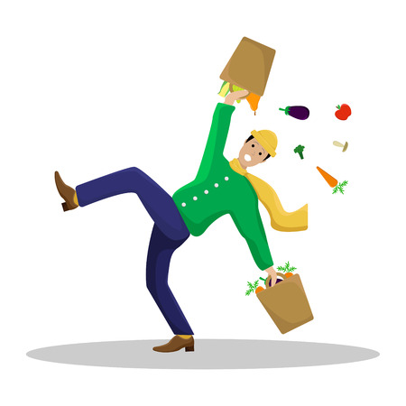 Vector flat illustration with a slipped man with shopping.