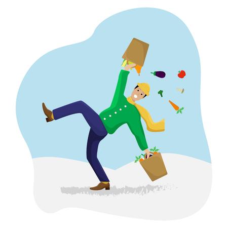 Platte vectorillustratie met een uitgegleden man met winkelen op ijs. Winter seizoen.