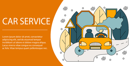 Vector illustration concept of car service. Creative flat design for web banner, marketing material, business presentation.