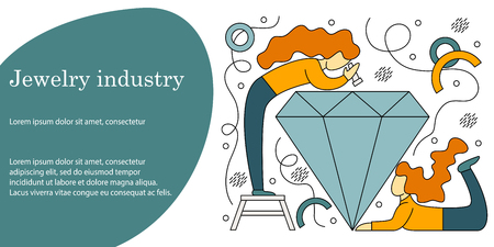 Vector illustration concept of jewelry industry. Creative flat design for web banner, marketing material, business presentation.