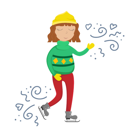 Girl in a sweater on skates. Flat winter vector illustration with doodles.