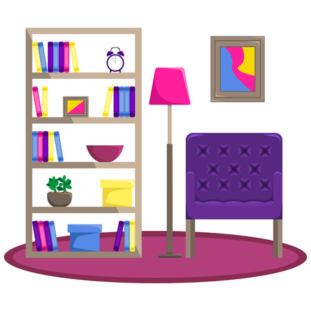 Flat vector illustration. The interior of the living room. Armchair with floor lamp and bookcase. Recreation area. An isolated figure.