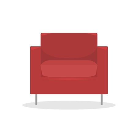 Flat vector illustration. Red modern armchair in retro style. An isolated figure.