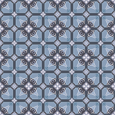 Portuguese tile pattern vector seamless with old ornaments. Mexican talavera, italian sicily, majolica, spanish ceramic. Perfect for fabrics, promotional products, notebooks.