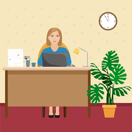 A woman in the office at the Desk with a pile of papers and a laptop. Vector illustration.