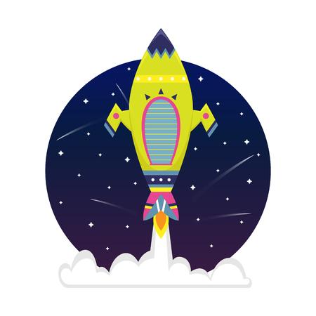 Flat bright cartoon spaceship in a starry sky.