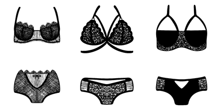 Lace hand-drawn ink on women's underwear. Set of 3 lingerie sets.