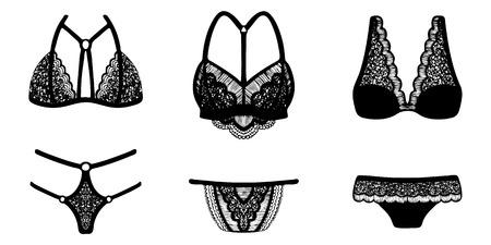 Encaje tinta dibujada a mano en ropa interior femenina. Conjunto de 3 conjuntos de lencería. Ilustración de vector
