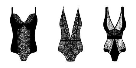 Encaje tinta dibujada a mano en ropa interior femenina. Conjunto de 3 conjuntos de lencería.