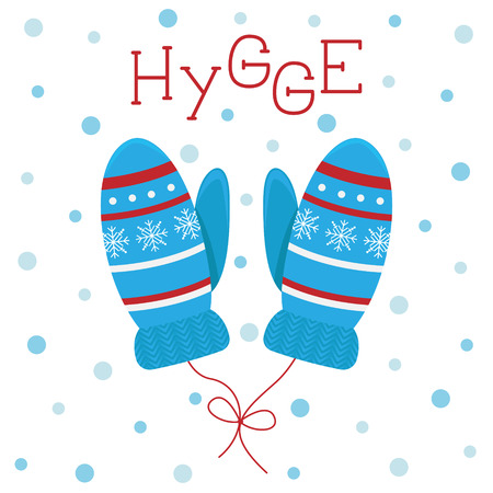 Winter greeting card in flat cartoon style. Nice knitted mittens on a string. Hygge.