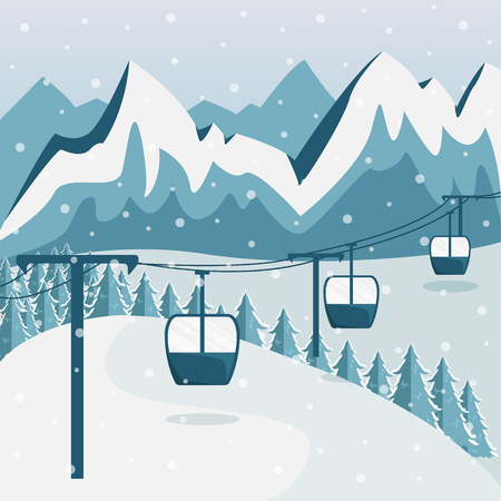 A ski resort with a funicular with cabins. Flat style. Mountain landscape.