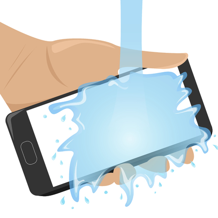 Flat waterproof phone in man hand under the water. Isolated flat illustration.