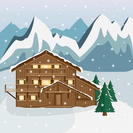 Cozy wooden Chalet in the mountains. Mountain landscape. Flat style. Ski resort. Snowfall.