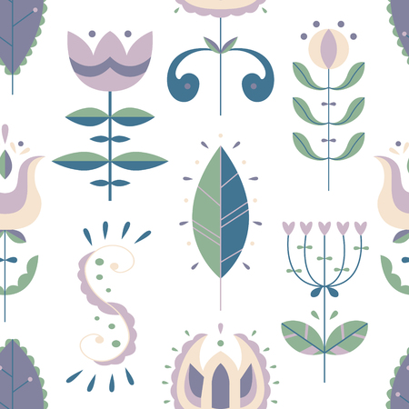 Vector seamless pattern in Scandinavian style. Flat style. Flowers and doodles.