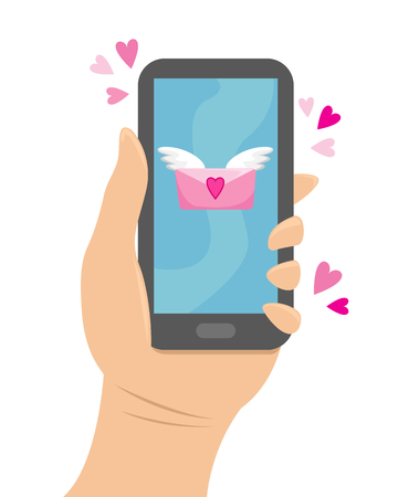 Hand holding the phone to which came a love message. Flat vector illustration. Ilustração