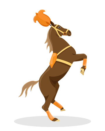 Circus trained horse in stage decoration. Flat vector illustration.