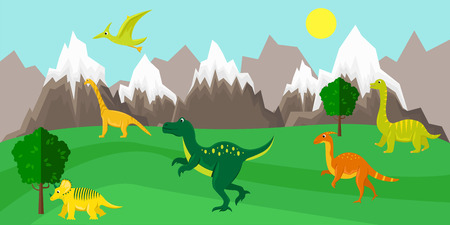 Poster with dinosaurs on the background of a mountain landscape. Banner in a flat cartoon style.