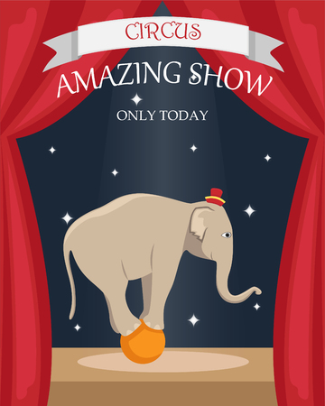 Circus trained elephant on the ball. Flat vector poster.