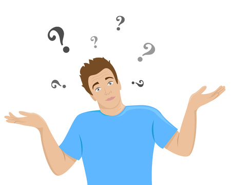 The surprised young man shrugs. Flat isolated illustration. Imagens - 121997681
