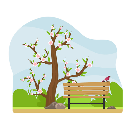 Spring landscape. Alley in the Park with a bench and a lantern. Flowering tree. Sunny day. Flat cartoon style.