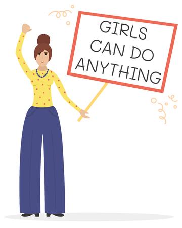 Vector feminist illustration. Girl power poster. Girls can do anything. International womens day.
