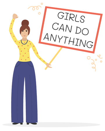 Vector feminist illustration. Girl power poster. Girls can do anything. International womens day.