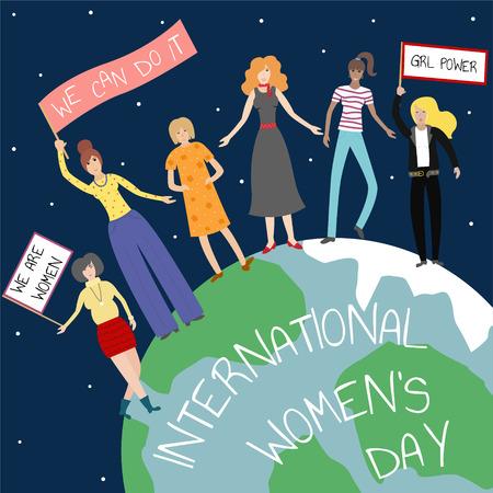 Vector feminist illustration. Girl power poster. International womens day.