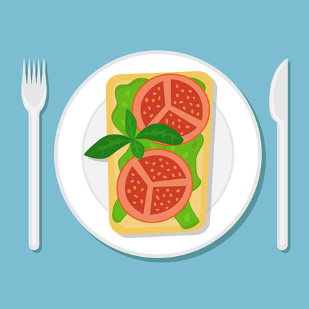 Toast with avocado puree and tomato slices on a plate. Flat vector illustration. Top view.