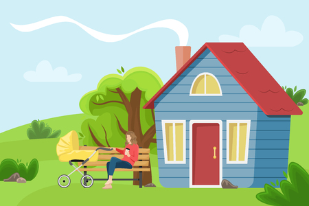 Young mother with a baby carriage sitting on a bench near the village cottage. Flat vector illustration. The girl with the paper Cup of coffee. Stock Illustratie