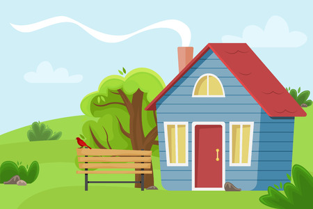 Village cottage in the field. Flat vector illustration.