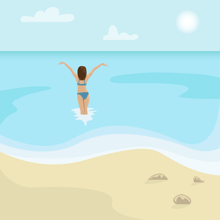 Beach landscape. Girl in a swimsuit is in the sea. Flat vector illustration. Foto de archivo - 121997747