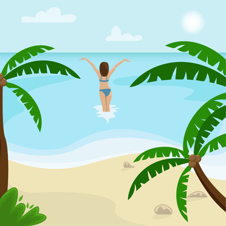 Beach landscape with palm trees. Girl in a swimsuit is in the sea. Flat vector illustration.  イラスト・ベクター素材