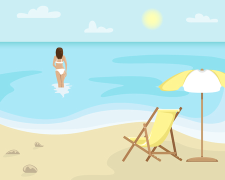 Beach landscape with sun lounger and sun umbrella. Girl in a swimsuit is in the sea. Flat vector illustration. Standard-Bild - 121997751